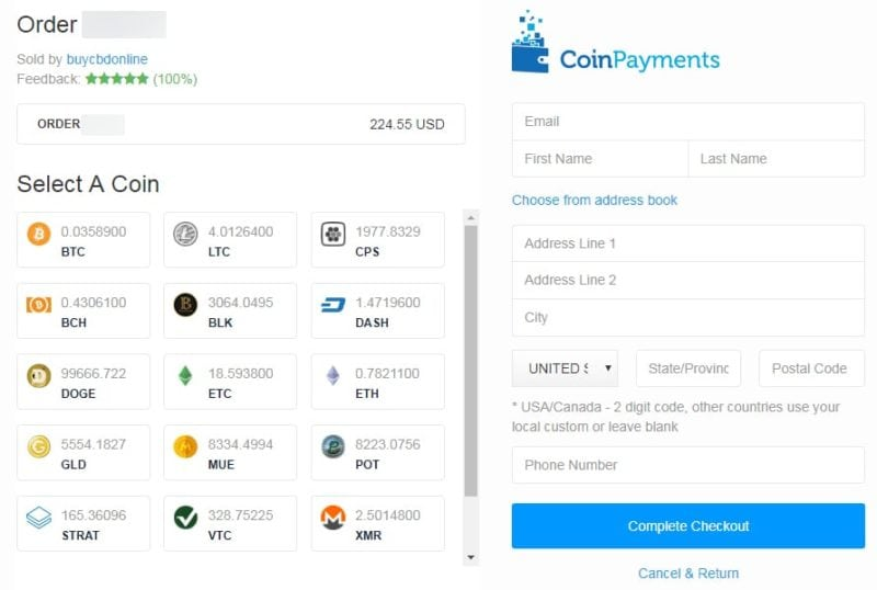 coinpayments payment screen