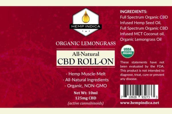 Lemongrass Hemp Indica natural CBD roll on