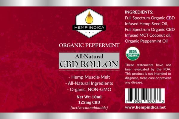 Peppermint Hemp Indica natural CBD roll on
