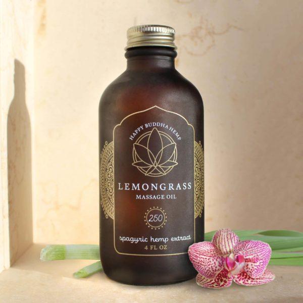 Happy Buddha Lemongrass CBD Massage Oil
