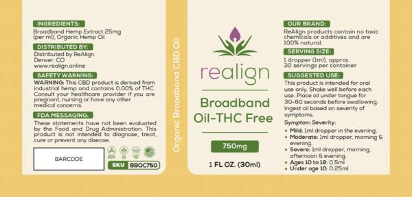 Label For Realign Broadband CBD Drops